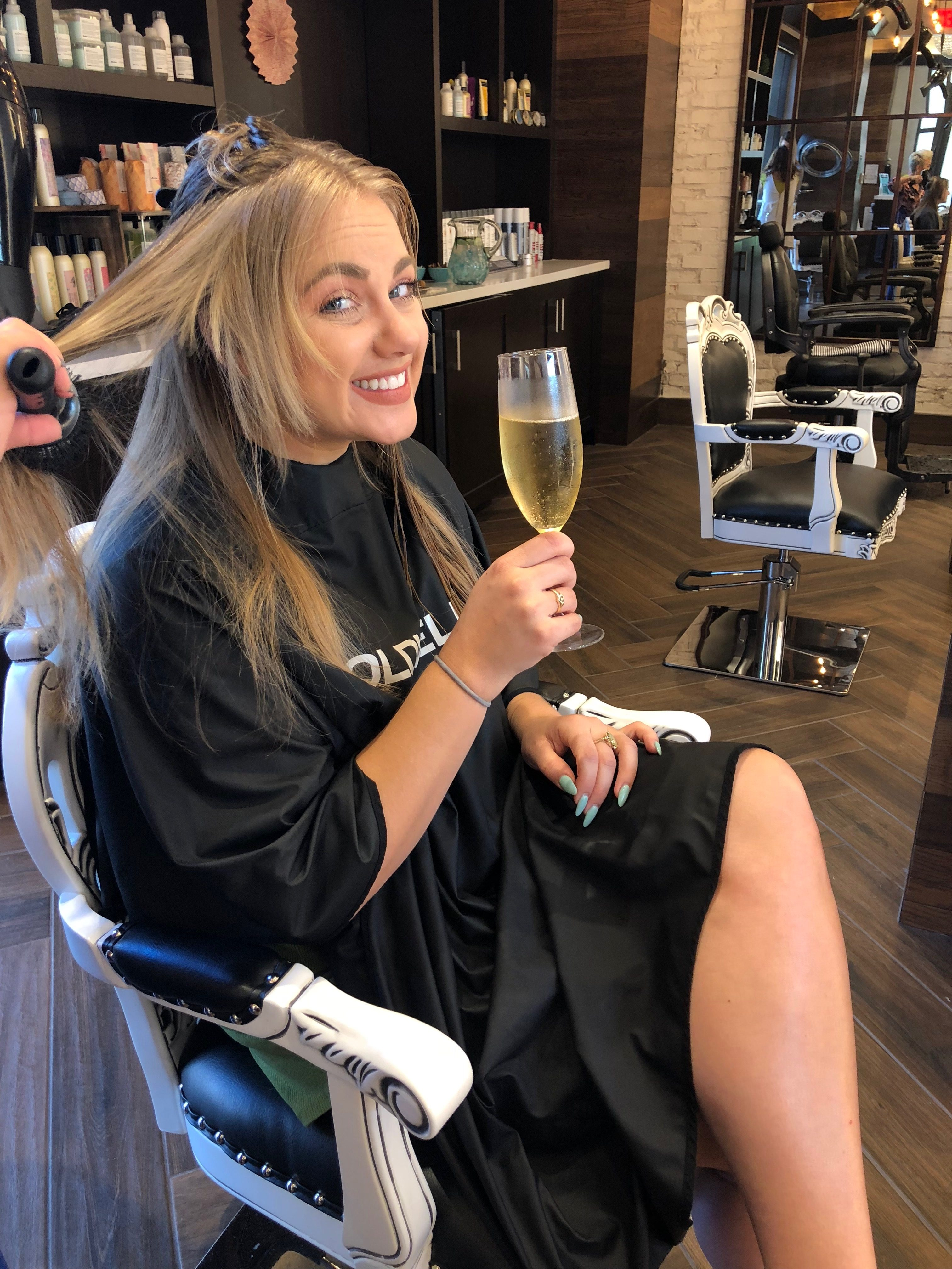 champagne at the hair salon